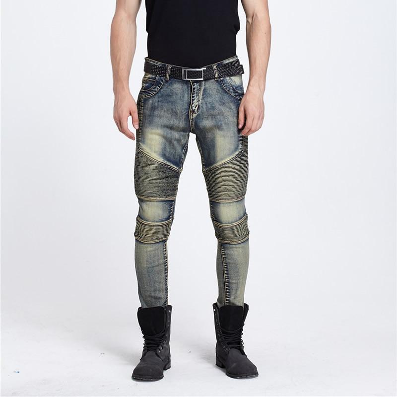 mens jeans stretch Spring Denim Jeans dsq balmai ripped men corduroy fake designer clothes hip hop baggy jeans dark blue diselОдежда и ак�е��уары<br><br><br>Aliexpress