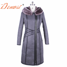 2017 high quality x-long faux leather jacket warm slim zippers hooded winter female plus size 4xl oversize outwear suede coats(China)