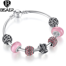 Buy Silver Charm Bracelet Bangle Open Heart & Crown Charms Pink Glass Ball Bracelet WEU3070 for $3.67 in AliExpress store