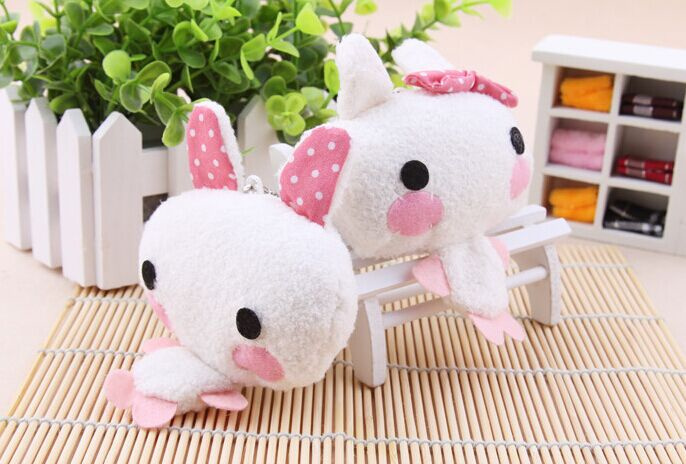 Kawaii 8CM Rabbit - Stuffed Plush Toy Doll , String pendant rope Decor plush Toy Doll ; Kid's gift plush toy(China)