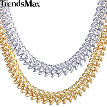 Trendsmax 6mm Womens Chain Ladies Braided Bismark Link White Rose Yellow Gold Filled Necklace Fashion Jewellery Wholesale GN278