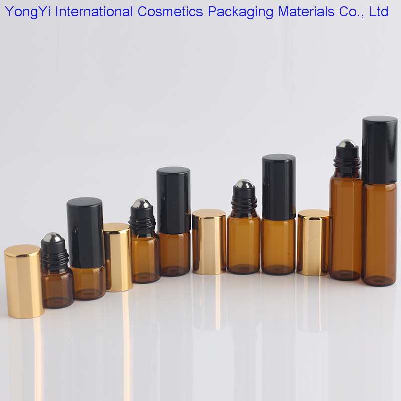 5Pcs1ML2ML3ML5ML10ML Amber Roll On Roller Bottle for Essential Oils Refillable Perfume Bottle Deodorant Containers With Gold Lid(China (Mainland))