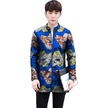 Customized Africa Print Men Baseball Jacket Casual African Clothes Stand Collar Man Long Coats Dashiki Style Overcoat