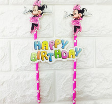 1set Minnie mouse cake pick Mickey mouse theme cake flag birthday party cake decoration cake toppers kids birthday party 1 set