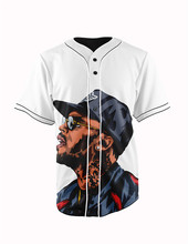 Real American Size  chris brown white  3D Sublimation Print Custom made Button up baseball jersey plus size