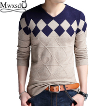 Mwxsd brand Men casual argyle plaid pullover sweater autumn mens slim fit jumpers hombre male cotton sweater pull homme 4xl(China)
