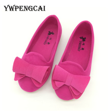 Hot Sale Children Shoes Big Bow Flock Candy Colors Girls Shoes Princess Flat Shoes Slip-On Girls Sandals Single Baby Girl Shoes