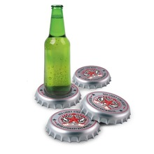 Free Shipping 4 Sets Retro Funky Bottle Cap Coasters Giant Bottle Top Drink Coasters Stunning Cup Mat