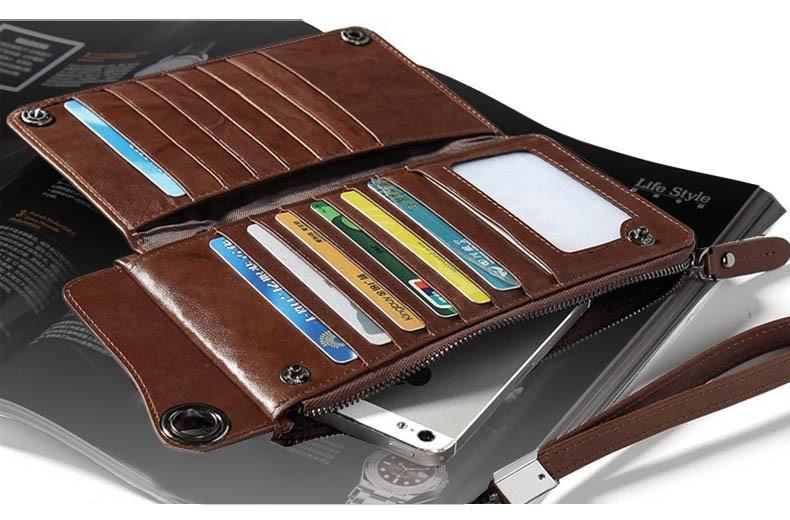 LUENSRO Wallet Leather Vintage Wallets Men Genuine Leather Wallet Zipper Card Holder Purse Long Coin Purse Money For iPhone7S (3)-1