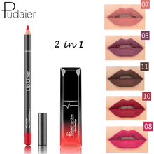 PUDAIER 12 Colors Matte Waterproof Lipstick Sets Long Lasting Liquid Lipstick+velvet Lips Pencil Makeup Nude Velvet Lip Gloss(China)