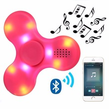 LED Bluetooth Speaker Hand toy Music Figet Spiner EDC Hand Spinner For Autism/Kids/Adult Funny Fidgets Toy Speakers(China)
