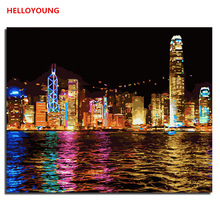 HELLOYOUNG DIY Handpainted Oil Painting Hong Kong night Digital Painting by numbers oil paintings chinese scroll paintings(China)