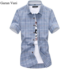 100% Cotton Mens Dress Short Sleeve Shirts Fashion Casual Slim Fit Plaid Men Shirts Brand Clothing Chemise Homme C28