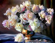 Needle work Diy Diamond Painting Cross Stitch Peony vase Round Diamond embroidery Crystal Rhinestone Mosaic Picture