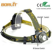 BORUIT 2000LM IR Sensor LED Headlight 100M Distance AAA Battery Headlamp Lantern Camping Hunting Fishing White Light Head Torch