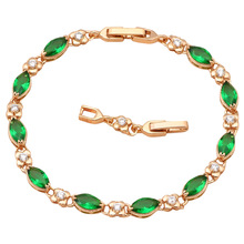 Vintage style Gold tone Green Cubic zirconia Bracelets for women Health Nickel & Lead free fashion jewelry TB522A