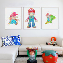 HAOCHU Nordic Colorful Cartoon Character Red Blue Canvas Painting Black White Pictures Wall Poster No frame Photo kid Room Deocr