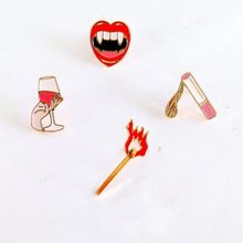 Free shipping fashion match cigarettes red wine glass vampire mouth metal brooch pins jewelry wholesale