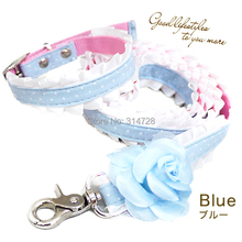 Free shipping beauty princess camellia lace adjustable dog collar leash pet walking outdoor products blue