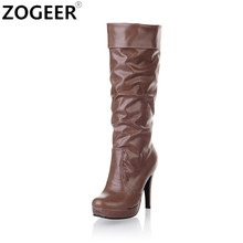 ZOGEER Plus Size 43 New 2017 Spring Autumn Women Boots Sexy High Heel Soft PU Leather Knee High Boots Sexy Shoes Woman