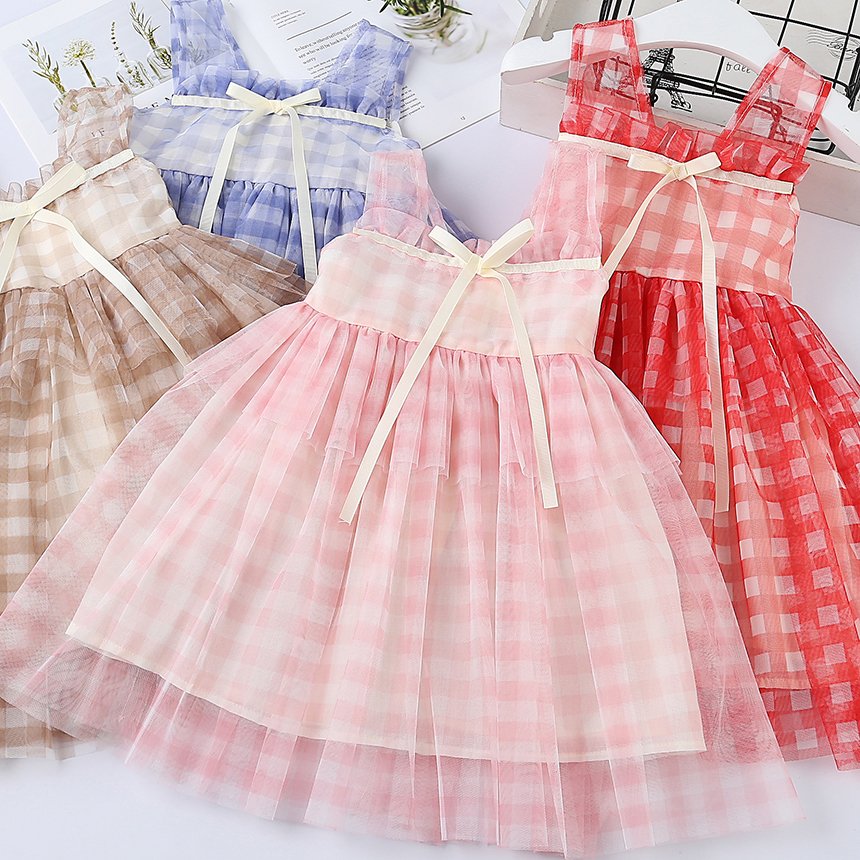 2019 Children Girls Cotton Mesh Plaids Bow Vest  Dresses,  Princess Kids Cute Candy Dress ,  5 pcs/lot, Wholesale