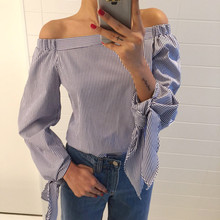 2017 Plus Size Women Sexy Blouses Slash Neck Off Shoulder Bow Long Sleeve Casual Tops Shirts Blue White Striped Party Blusas(China)