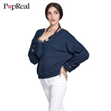 Popreal 2017 NEW Women Winter Hoodies Long Sleeve O-neck Fashion Loose Casual Autumn Female Sweatshirts Pullovers(China)