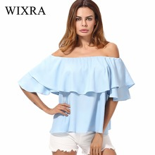 Wixra 2017 Women's Fashion Slash Neck Sexy Chiffon Blouse Shirts Ladies Butterfly Sleeve Ruffles Solid Knitted Tops For Women(China)