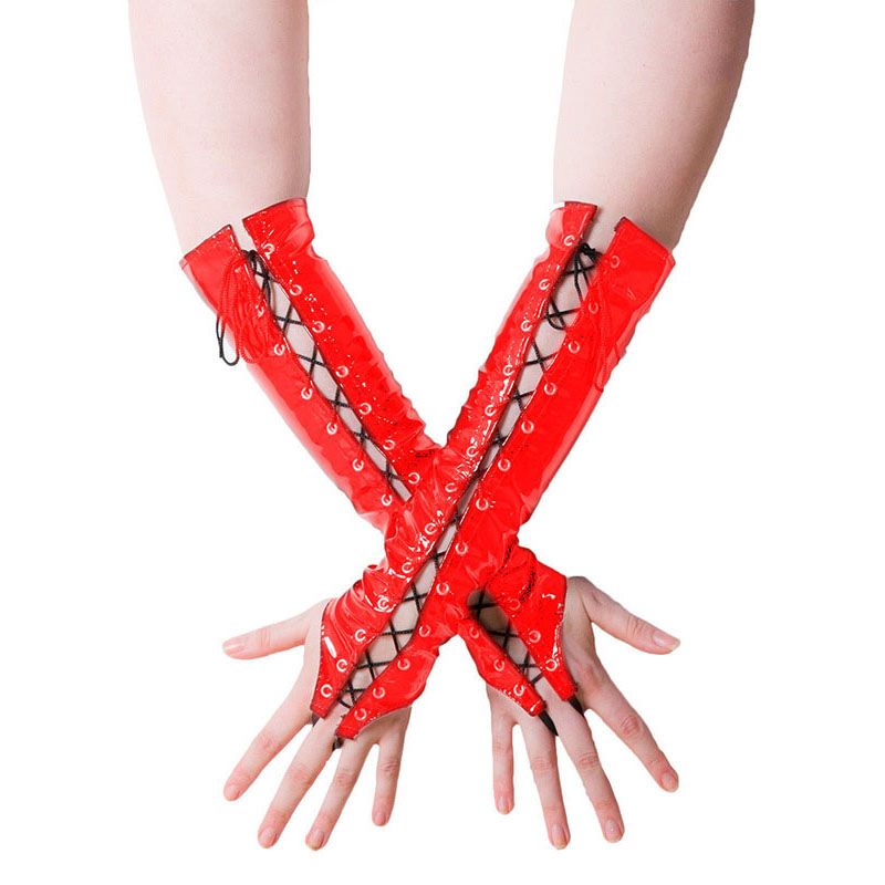 Ladies PVC Lace Up Long Fingerless Gloves Women Fancy Party Elbow Length Gloves Red Black Shiny Wetlook Vinyl Leather Gloves (4)