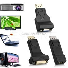 DP Display Port Male to DVI/HDMI/VGA Female Converter Adapter For PC Laptop -R179 Drop Shipping