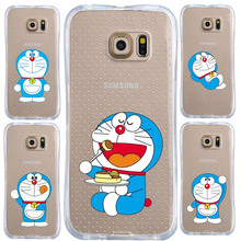 Anti knock unbreak Case Cute cartoon Doraemon For Samsung Galaxy S7 S6 edge Case transparent Silicone soft Tpu Cell Phone Cover