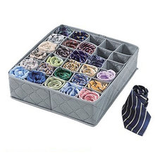 Durable 30 Cell Bamboo Ties Box Closet Divider Drawer Wardrobe Closet Organizer Storage #30489