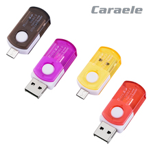 Caraele High Stability Rotatable 2 in 1 USB 2.0 Micro USB OTG Card Reader Adapter For Micro SD TF Flash Memory Card(China)