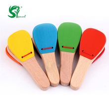 Lovely Wooden toys for children Castanet Clapper Handle Kids Baby Musical Instrument Preschool Early Educational Toy oyuncak