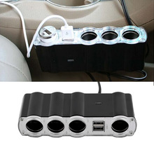 Universal Auto Car 4 Way Multi Socket Cigarette Lighter Splitter Dual USB USB Plug Adapter Charger New Hot Sale(China)