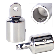 DWCX New 2Pcs / Set Stainless Steel 7/8'' Silver Pipe Eye End Cap Bimini Top Fitting Hardware Fit for Marine Boat Yacht(China)