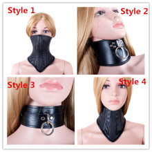 Buy Hot Sale 4 Styles Choose Black PU Leather Bdsm Fetish Bondage Sex Neck Collar Adult Game Collars Ring Sex Toys Slave Neck Collar