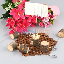 6pcs Natural Wood Base Name Table Number Menu Place Card Holder Rustic Wedding Free Shipping!