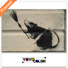 Banksy broom rat, Framed Canvas Print Painting Artwork, Wall Art Picture/Photo Gift for Living Room, WHOLESALE B722