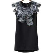 Summer new stereoscopic Butterfly wing pattern round neck sleeveless dress cotton dress