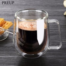 PREUP 250ml Handmade Heat Resistance Double Wall Clear Glass Cup Coffee Milk Tea Beer Mug Transparent Drinkware High Quality