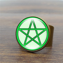 Vintage Antique Ring Green Pentagram Wicca Art Glass Dome Rings for Women Jewelry Adjustable