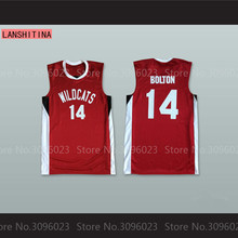 LANSHITINA Zac Efron Troy Bolton 14 East High School Wildcats Red White Basketball Jersey(China)