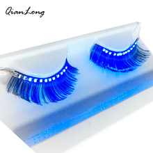 Colorful LED Eyelashes Luminous Shining Eyelash For Christmas Halloween Party Bar Makeup Unisex LED Light Eyelid False Eyelashes