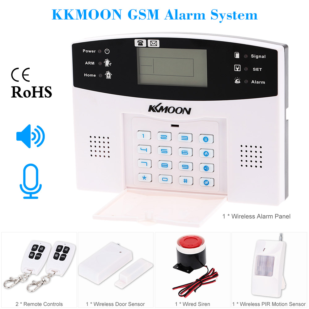 KKMOON 106 Wired/Wireless Defense Zones GSM SMS Home Security Alarm System Door Sensor Kit LCD Speaker Keyboard Sensor(China (Mainland))