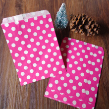 100pcs Hot Pink Dots Paper Bag Strung Food Quality Craft Favor Candy Snack Bag Gift Treat Paper Bag Party Favor 5 x 7inch