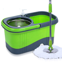 360 rotating pedal drive stainless 3 colors easy Magic Floor cleaning mop bucket with 2 Microfiber mopheads