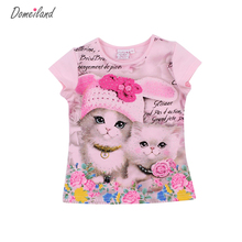 2017 fashion summer domeiland children brand clothing for kids girl short sleeve print 3d cat cotton t shirts tops baby clothes(China)
