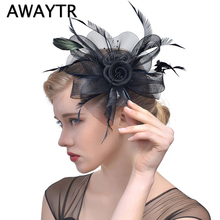 Feather Fascinator Hat Clips AWAYTR Women Fancy Black Birdcage Veil Wedding Hats Hair Accessories Headband Hat Lady Bride Party(China)
