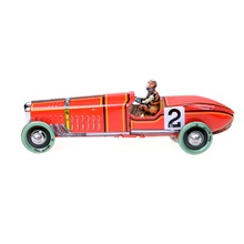 Iron metal Handicraft Vintage Windup classic red Race Car model Clockwork tin Vehicle toy Collectable Gift Restoring Ancient toy(China)
